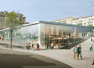 sur la grande place, des commerces, un centre d'interprétation